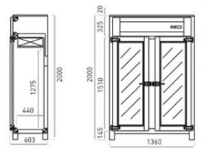 afbeelding 2 deurs tekening retrokoelkast 4060