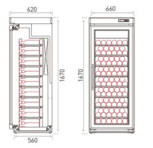 retro houten koelkast 1 deurs 1670 mm tekening