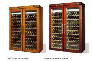 retro houten koelkast voor wijn 2 deurs 2 x 100 flessen