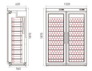 retro houten koelkast voor wijn 2 deurs tekening 2x100 fl