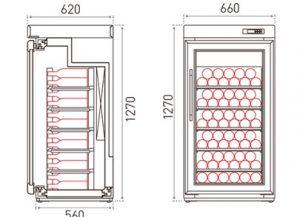 retro houten koelkast voro wijn tekening 1 deurs
