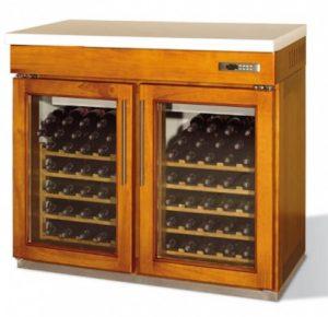 retro werkbank voor wijn 2 deurs